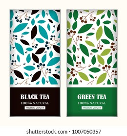 Set of vector arts for tea packages, labels or stickers. Background for black and green tea. Herbal, branches and leaves illustration, simple flat style. Blue, green, black colors