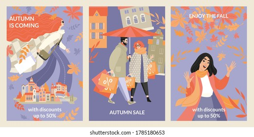 Set of vector autumn sale banners with happy people on cityscape background. Enjoy the fall with discounts. Illustration with cute characters in flat style