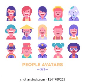Set of vector avatars. Different skin tones, clothes and hair styles. Modern and clear flat style. Part 3 of 3.