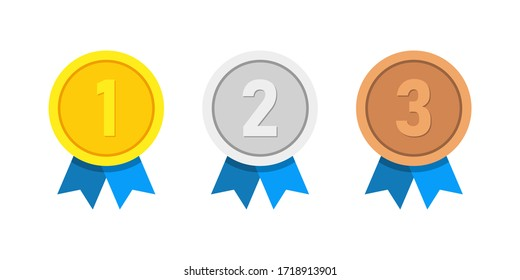 Set of vector award medals golden, silver and bronze isolated on white background. Winner medal with red ribbon icon. Championship award. Achievement, victory concept.