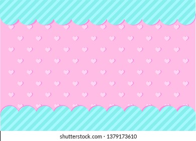 Set of vector background with hearts and dots for invitation card. Candy shop showcase frame. Pink, turquoise backdrop for gender reveal, baby shower, little princess birthday lol party. Girlish style