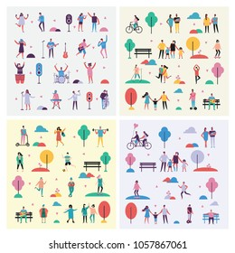 Set of vector backgrounds in flat design of different people activities