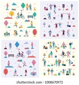 Set of Vector backgrounds in a flat style of group of happy dancing, singing, shopping and outdoor people