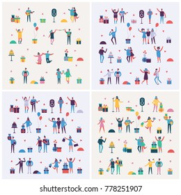 Set of Vector backgrounds in a flat style of group of happy dancing, singing and birthday party people