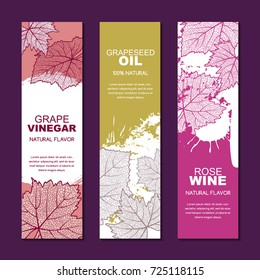 Set of vector backgrounds for label, package. Sketch hand drawn illustration of grape textured leaves on watercolor background. Concept for red, rose, white wine list, grapeseed oil or grape vinegar.