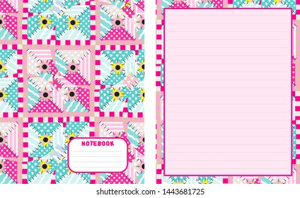 Set of vector backgrounds for school notebook, cover and blank page. Kawaii paper for handwriting letters, diary, planners, notes. Abstract illustration in patchwork, textile style. Lined version