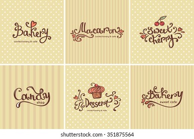 Set of vector bakery logos. Bread and pastries labels, badges and design elements.