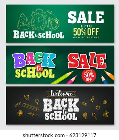 Set of vector banner back to school designs with colorful elements and text in green and black background for store discount promotion and school related. Vector illustration.