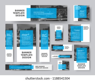 set of vector banners of all sizes with a rectangular blue transparent dice for text and a place for photos. White design for the web.
