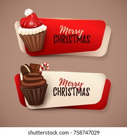 Set of vector banners with Christmas cupcakes