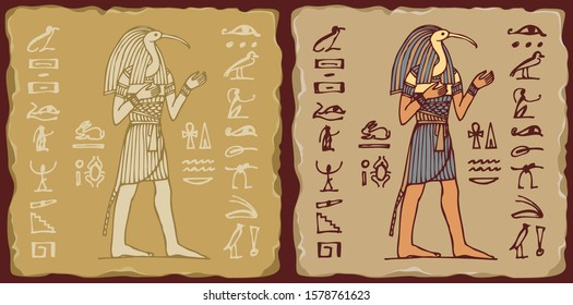 Set of vector banners in the form of ceramic tiles with God Thoth with hieroglyphs. The Ancient Egyptian god of Moon, Writing, Wisdom with head of Ibis. Advertising posters or flyers for travel Agency