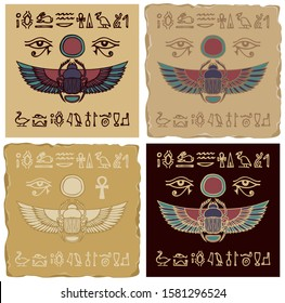 Set of vector banners in the form of ceramic or clay tiles with Egyptian scarab beetle and hieroglyphs. The Ancient Egyptian God Khepri. Advertising posters or flyers for travel Agency in retro style