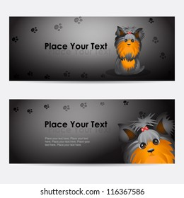 Set of vector banners with funny yorkshire terrier