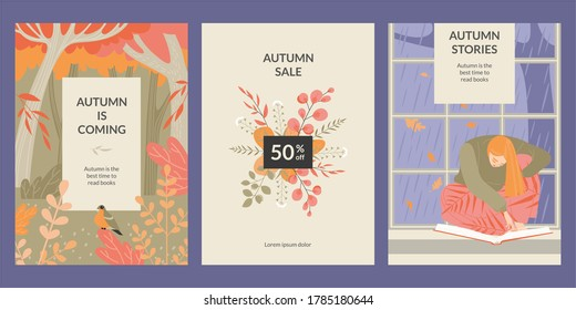 Set of vector banners with a girl reading a book, autumn forest and a bouquet of leaves. Autumn is the best time to read books. Illustrations in flat style