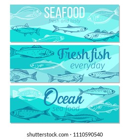 Set vector banners hand drawn fish. Seafood design with salmon, anchovy, codfish, sea bass, ocean perch and sardine. Sketch mackerel, herring, dorado, tuna, halibut, tilapia and trout.