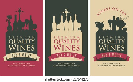 set of vector banners for liquor store with the silhouette of a still life from wine bottles