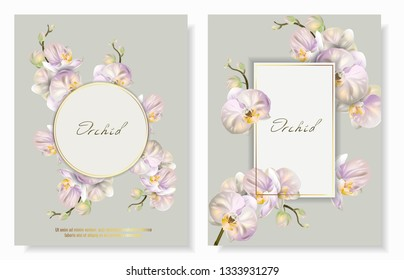 Set of Vector banners with Luxurious orchid flowers. Template for greeting cards, wedding decorations, invitation, sales, packaging. Spring or summer design. Place for text.