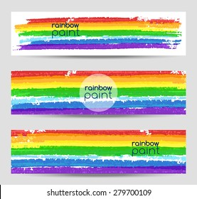 Set of vector banners with rainbow colors paint