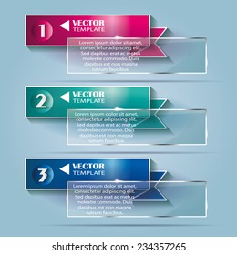 Set of vector banners ribbons with numbers for design of your website.