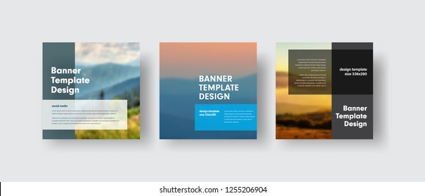 Set of vector banners for social media with place for photo and transparent dies for text. Square templates for business and advertising.
