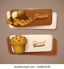 Set of vector banners with sweets.