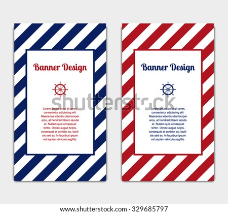 Set Vector Banners Template Nautical Marine Stock Vector Royalty
