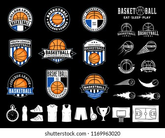 Set of vector basketball logo, labels and icons for sport teams, tournaments and organizations.