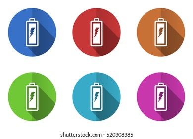 Set of vector battery icons. Colorful round web buttons. Flat design pushbuttons.