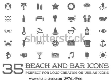 Set Vector Beach Sea Bar Elements Stock Vector Royalty Free