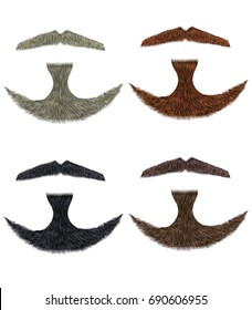 set vector Beard and mustache different colors.