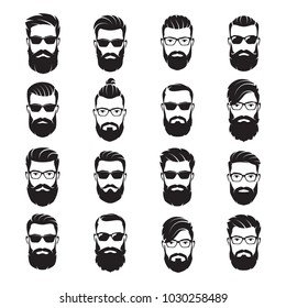 Set of vector bearded men faces hipsters with different haircuts, mustaches, beards, sunglasses. Silhouettes, avatars, emblems, icons, labels.