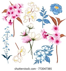 Set of  vector  beautiful artistic bright florals blooming,sakura wold flowers. Colorful original stylish floral background print, bright  colors on white.