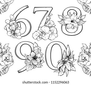 Set of vector beautiful elegant numbers 6, 7, 8, 9, 0 with flowers and floral compositions. Black and white linear graphic illustration