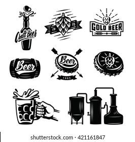 Set of vector beer badges on white background