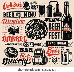 Set of vector beer badges on beige background