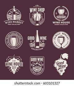 Set of vector beige wine logo