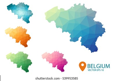 Set of vector Belgium maps. Bright gradient map of country in low poly style. Multicolored country map in geometric style for your infographics. Vector illustration eps 10.