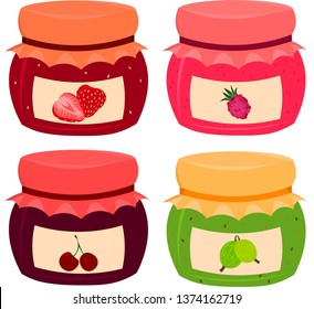 Set of vector berry jams: lubny, raspberry, cherry, gooseberry. Ingredients for breakfast, dessert. Design for logo, cafe, menu.