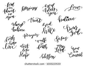 A set of Vector Bible Calligraphy, Faith Hand Lettering, Modern Script Font Lettering, Church Quotes, Vector Poster with Modern Calligraphy