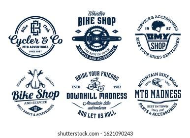 Set of vector bike shop, bicycle service, mountain biking vintage logo, badges and icons