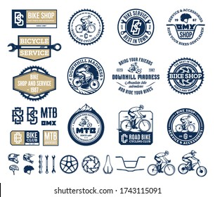 Set of vector bike shop, club, bicycle service, mountain and road biking logo and icons