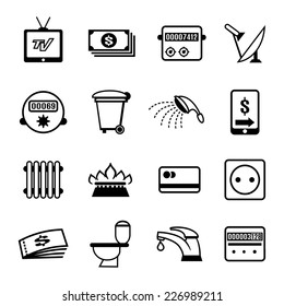 Set of vector bills icons for utilities such as water electricity  sanitation  heating  gas  rubbish disposal  and television