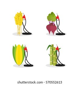 Set of vector biofuel gas station elements. Pumps and plants isolated on white. Alternative energy and environment protection concept design.