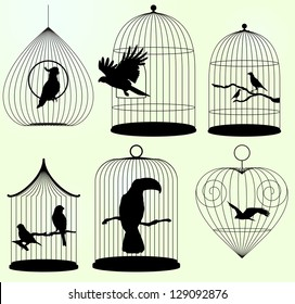 Set of vector birds cages