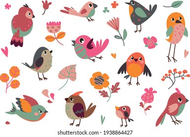 set of vector birds. cartoon illustration in childish style. images are isolated on white background. - Shutterstock ID 1938864427