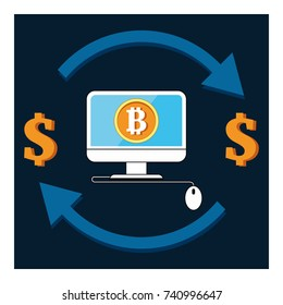 Set vector bitcoin graph on color background. Bitcoin hype concept vector illustration with blank space for text