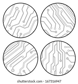 set of vector black circuit circle balls