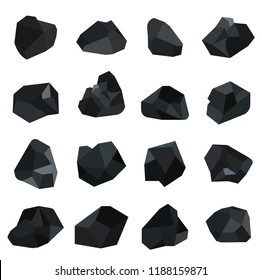 Set of vector black coals