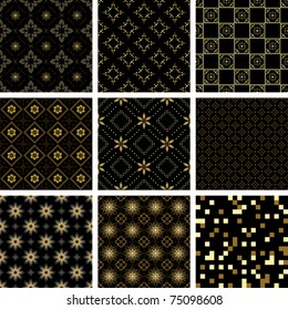 set of vector black geometric  seamless  textures with golden elements