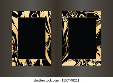 Set of vector black and gold design template for party, invitation, web, banner, birthday, wedding, business card. Abstract golden background.